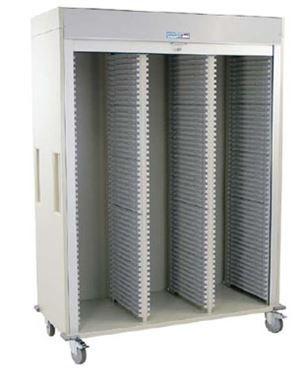 Triple Column Medical Storage Cart w/ Tambour Door