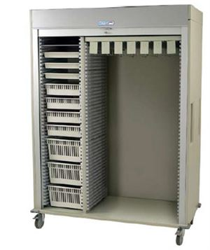 Triple Column Catheter Storage Cart Tambour Door