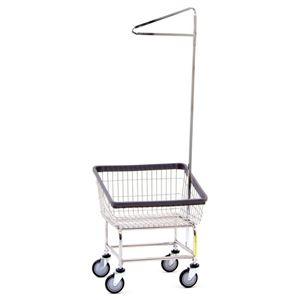Narrow Laundry Cart w/ Pole Rack