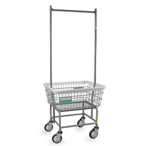 Antimicrobial Laundry Cart w/ Double Pole Rack