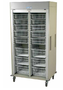 Double Column Mobile Supply Cart Wire Baskets