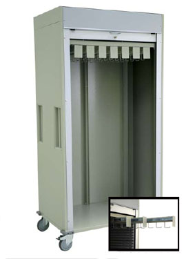 Double Wide Full Shell Catheter Procedure Cart Tambour Door
