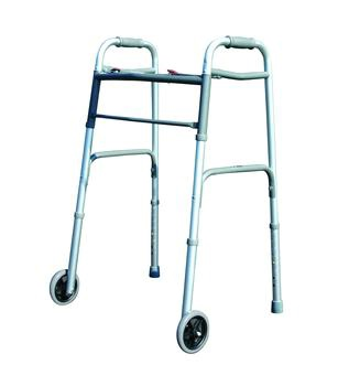 2 Button Folding Walker with 5in Wheels