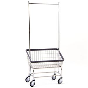 Large Capacity Front Load Laundry Cart w/ Pole Rack