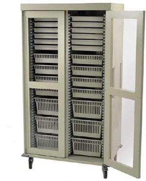 Preconfigured Double Column Storage Cart Clear Panel Doors