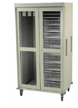 Double Column Catheter Procedure Cart Clear Panel Doors