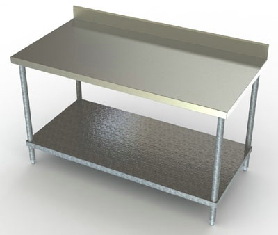 24in Wide SS Work Table w/ Galvanized Undershelf & 4in Backsplash
