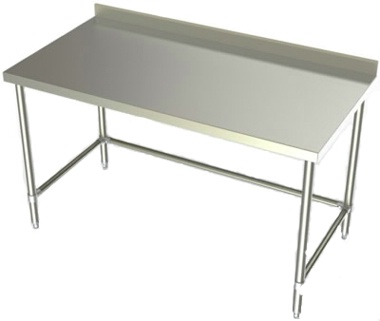 24in Wide Stainless Steel Work Table w/ 2 3/4in Backsplash