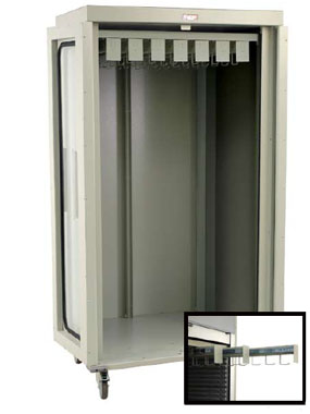 Double Wide Full Shell Catheter Cart w/ Tempered Glass Doors