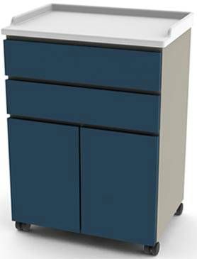 25in Mobile Cabinet 2 Drawers  2 Doors