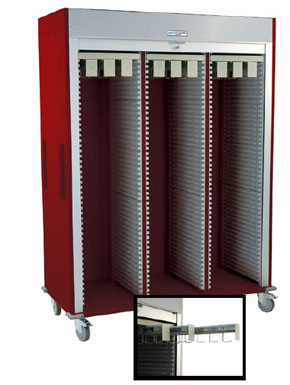 Triple Wide Full Shell Catheter Cart w/ Tambour Door