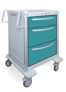 3 Drawer Medium Lightweight Aluminum Bedside/Slim Cart