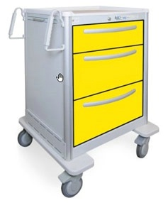 3 Drawer Medium Lightweight Aluminum Isolation Cart