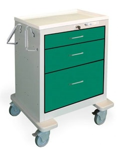 3 Drawer Mini Steel Anesthesia Cart