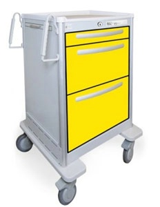 3 Drawer Slim Medium Lightweight Aluminum Isolation Cart
