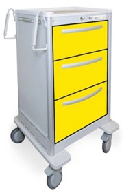 3 Drawer Slim Tall Lightweight Aluminum Isolation Cart