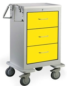 3 Drawer Slim Tall Steel Isolation Cart