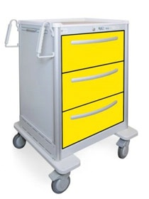 3 Drawer Tall Lightweight Aluminum Isolation Cart