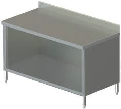 30in Wide Stainless Steel Work Table Enclosed Base  4in Backsplash