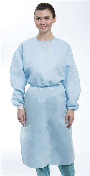 Dual-fabric cover gown knit cuff