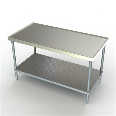 36in Wide Stainless Steel Work Table Galvanized Undershelf