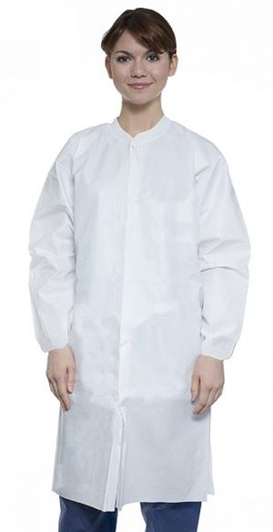 Liquid-guard lab coat- elastic cuffs- no pocket