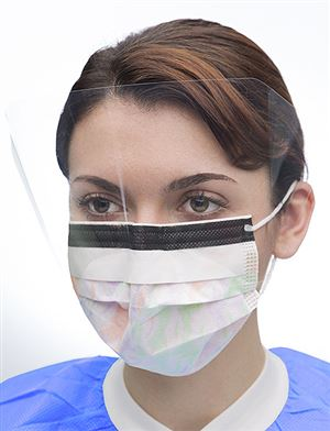 Ultra 3-in-1 sensitive ear-loop masks w/ splash visor