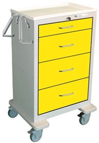 4 Drawer Extra Tall Steel Isolation Cart