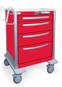 4 Drawer Medium Lightweight Aluminum Crash Cart