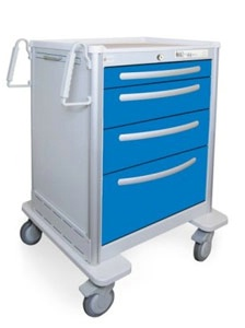 4 Drawer Medium Lightweight Aluminum Anesthesia Cart