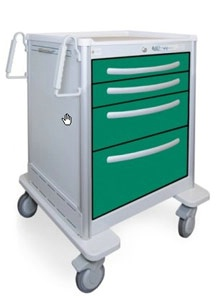 4 Drawer Mini Lightweight Aluminum Anesthesia Cart