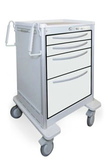 4 Drawer Mini Lightweight Aluminum BedsideSlim Cart