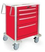 4 Drawer Mini Lightweight Aluminum Crash Cart