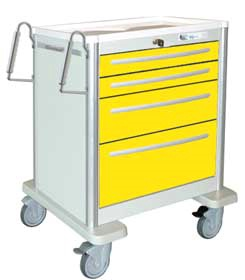 4 Drawer Mini Lightweight Aluminum Isolation Cart