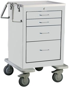 4 Drawer Mini Steel Bedside/Slim Cart
