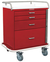 4 Drawer Short Emergency Cart Standard Package