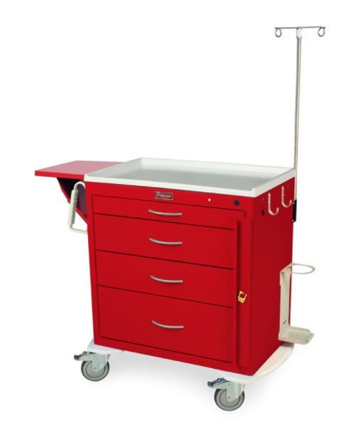 4 Drawer Short Emergency Crash Cart with Emergency Package
