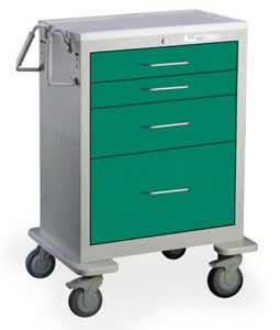 4 Drawer Mini Steel Anesthesia Cart
