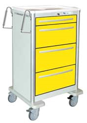 4 Drawer Slim Extra Tall Lightweight Aluminum Isolation Cart