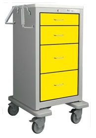 4 Drawer Slim Extra Tall Steel Isolation Cart