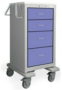 4 Drawer Slim Extra Tall Steel Treatment Cart