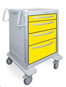 4 Drawer Slim Medium Lightweight Aluminum Isolation Cart