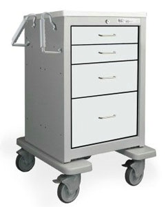 4 Drawer Slim Mini Steel Treatment Cart