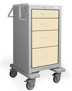 4 Drawer Slim Tall Steel Treatment Cart