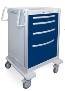 4 Drawer Tall Lightweight Aluminum Anesthesia Cart
