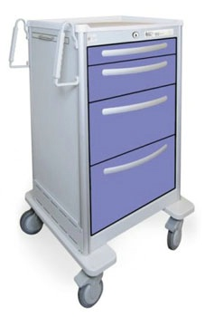 4 Drawer Tall Lightweight Aluminum Bedside/Slim Cart