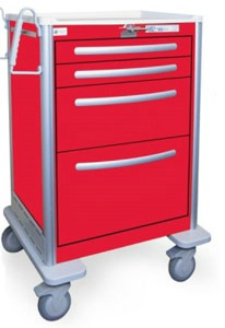 4 Drawer Tall Lightweight Aluminum Crash Cart