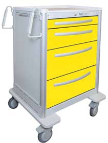 4 Drawer Tall Lightweight Aluminum Isolation Cart