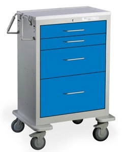 4 Drawer Tall Steel Anesthesia Cart