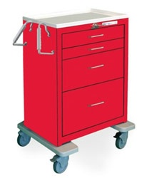 4 Drawer Tall Steel Crash Cart